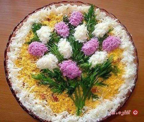 تزیین سالاد الویه طرح دسته گل