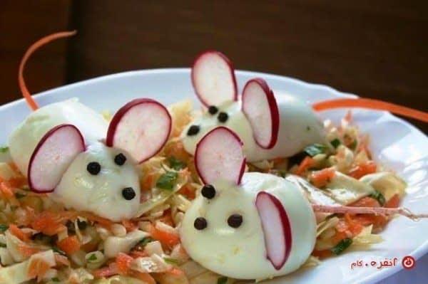 تزیین غذای بچه ها مدرسه موشها