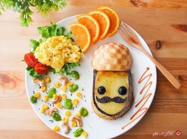 تزیین غذای کودکان آقا سیبیلو