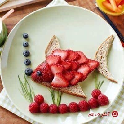 تزیین غذای کودکان ماهی قرمز