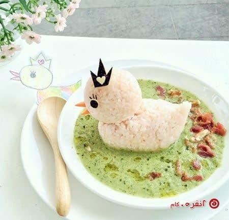 تزیین غذای کودک اردک زیبا