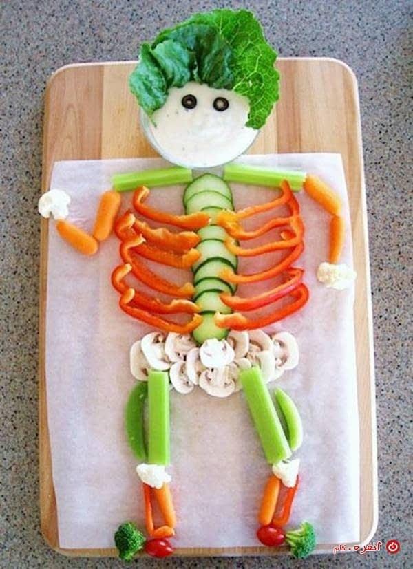 تزیین غذای کودک اسکلت سبزیجات