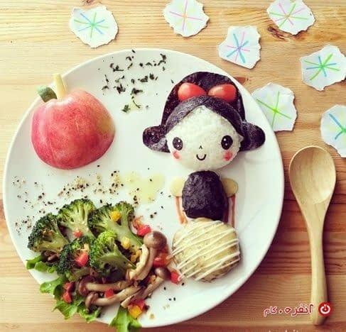 تزیین غذای کودک خانوم کوچولو