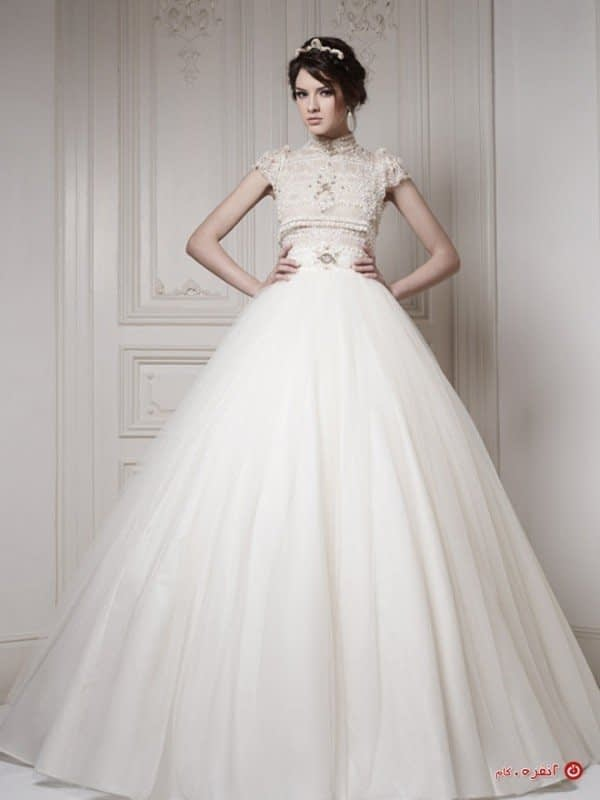لباس عروس با دامن پفی