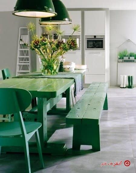 ناهار خوری با رنگ سبز زمردی