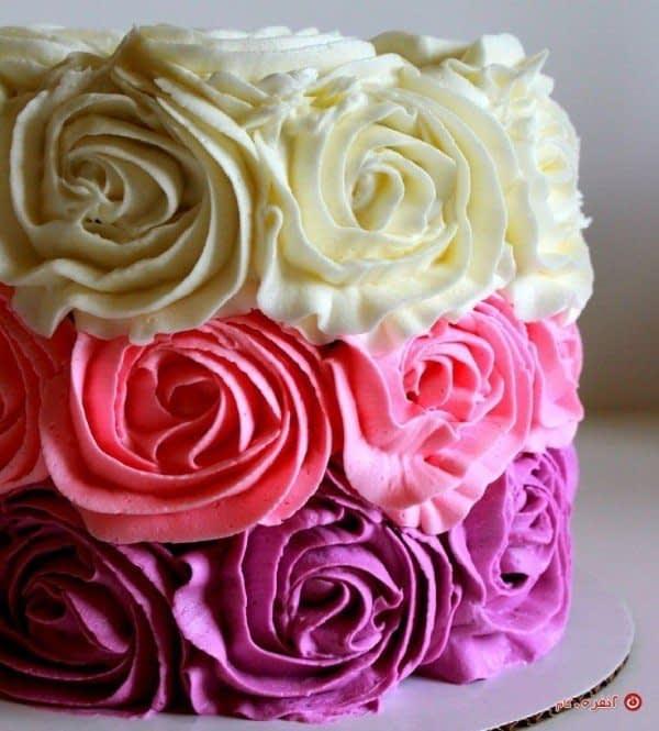 تزیین کیک به شکل گل