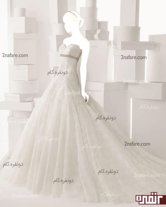 لباس عروس با دامن تور دانتل