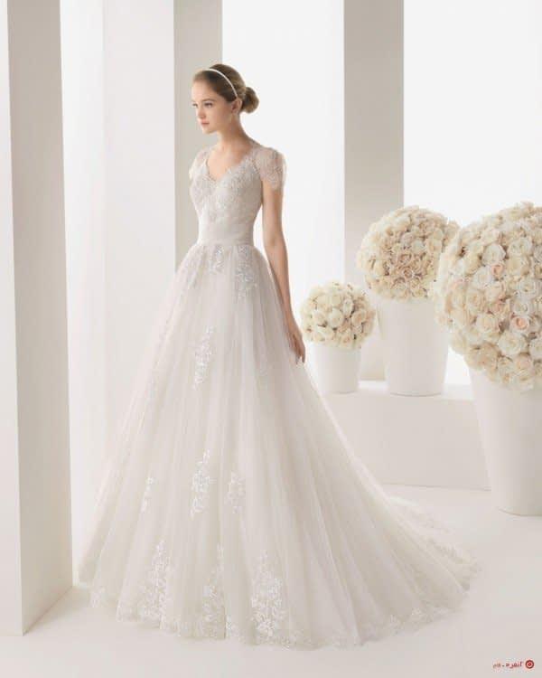 لباس عروس با دامن پف کم