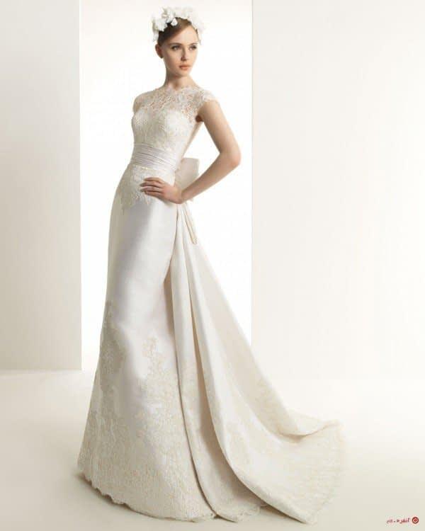 لباس عروس با پشت پاپون دار