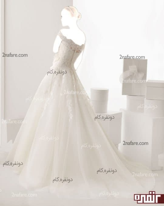 لباس عروس جدید با دامن تور دانتل