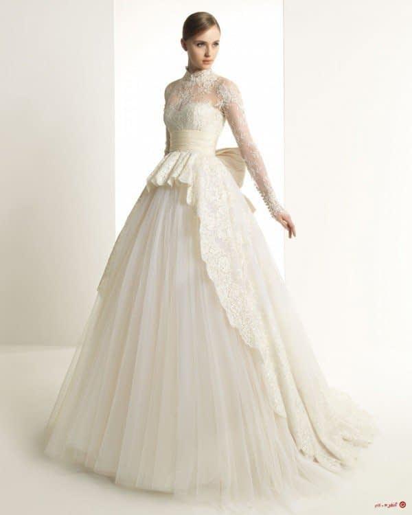 لباس عروس آستین بلند با دانتل