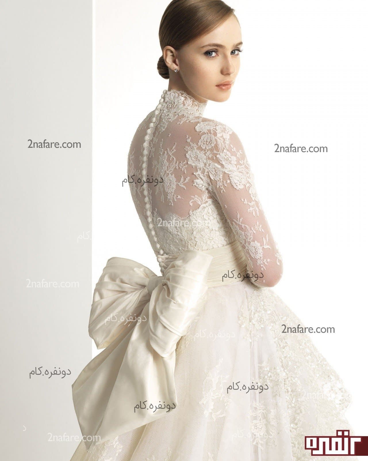 لباس عروس با پارچه دانتل تولینک