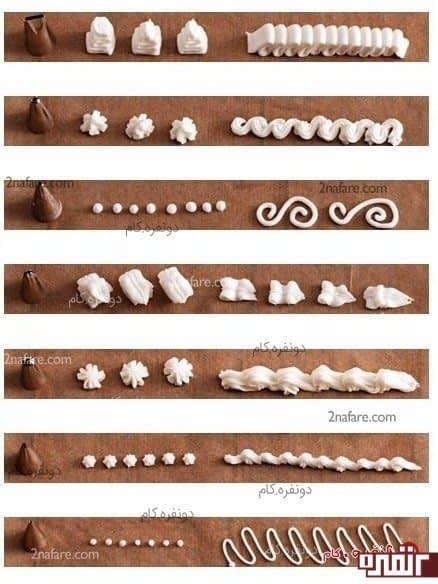 ماسوره های مختلف برای تزیین کیک