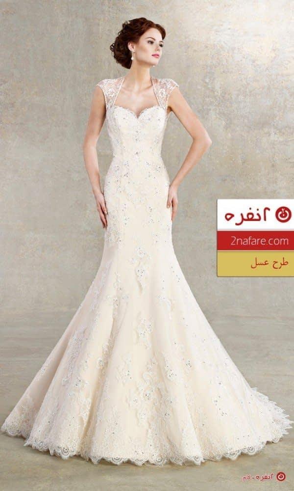 مدل لباس عروس  ماهی با طرح عسل