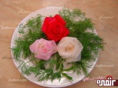 آموزش ساخت گل با شلغم برای تزیین سالاد