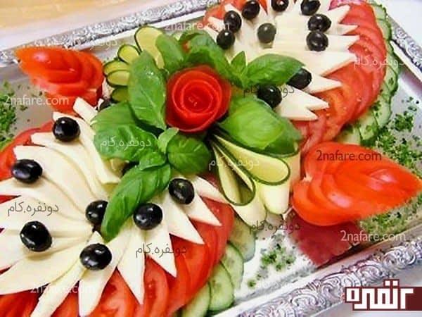 تزیین سالاد با سبزیجات