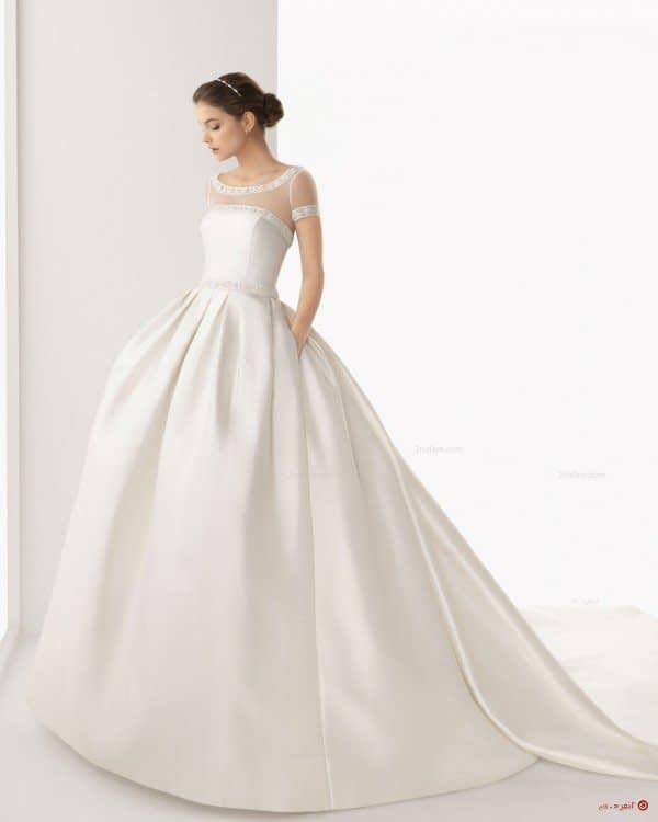 لباس عروس زیبا با دامن پفی دنباله دار