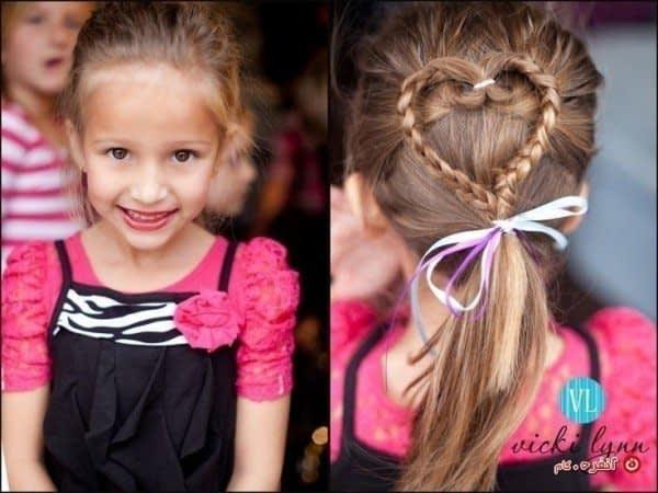 مدل بستن مو ی کودک به شکل قلب