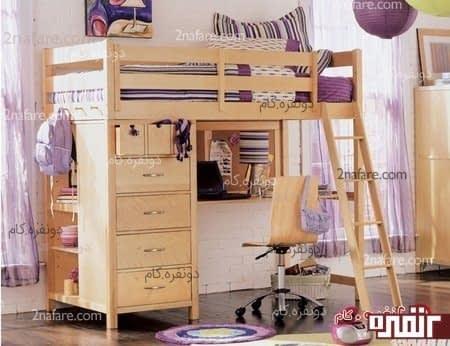 تخت و میز چوبی برای اتاق خواب