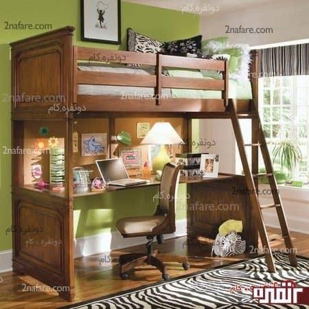 تخت و میز چوبی زیبا برای اتاق خواب کوچک