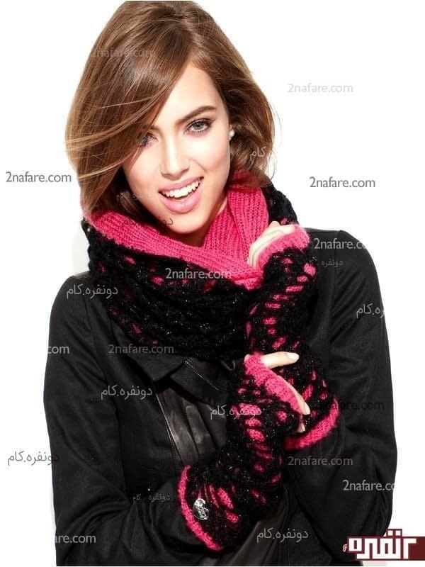ست شال و دستکش زیبا برای زمستان