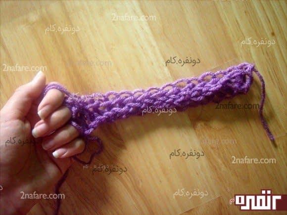 آموزش مرحله به مرحله بافت شال گردن زیبا با انگشت