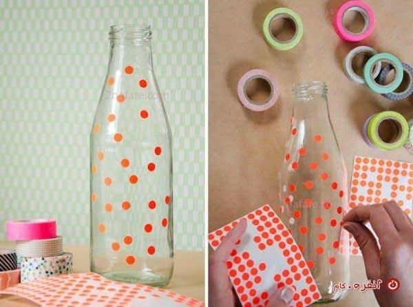 تزیین بطری با چسب تزیینی
