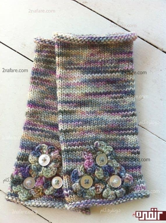 ساق دست کاموایی با طرح گل