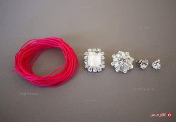 لوازم مورد نیاز برای ساخت دستبند نگین با نخ