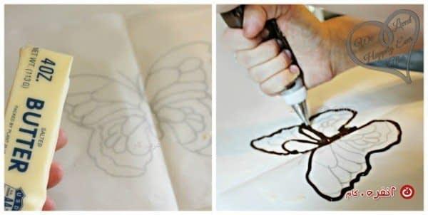 مراحل درست کردن پروانه شکلاتی