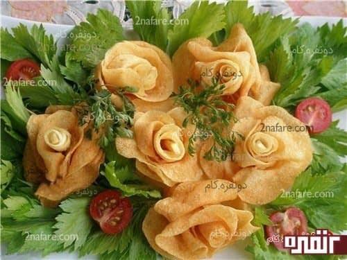 تزیین غذا با سیب زمینی به شکل گل