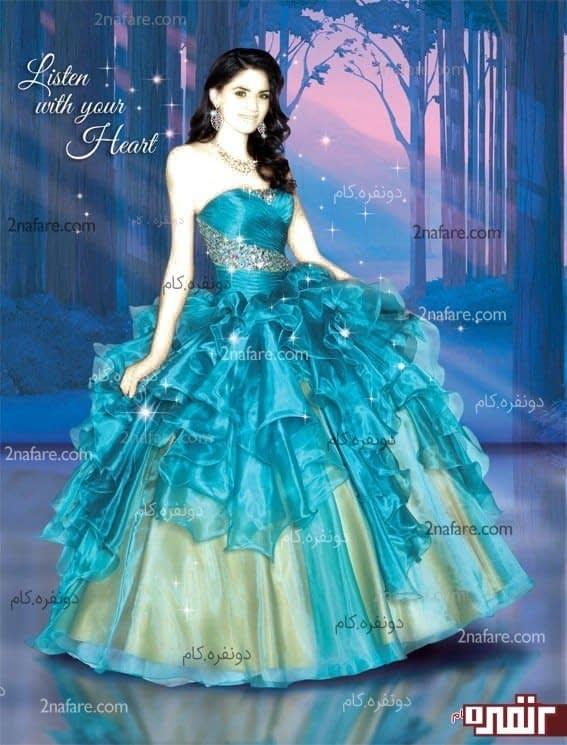 عکس لباس عروس رنگی برای حنابندان