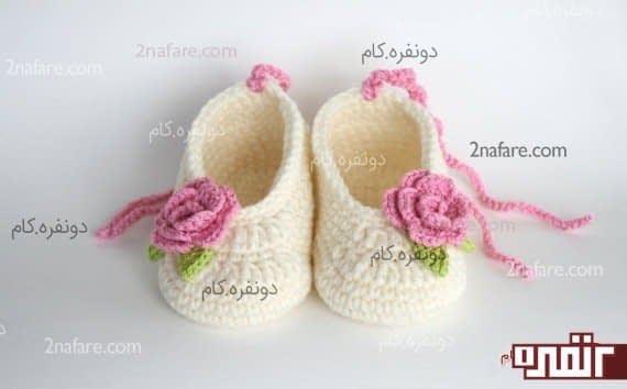 کفش بافتنی زیبای بچگونه