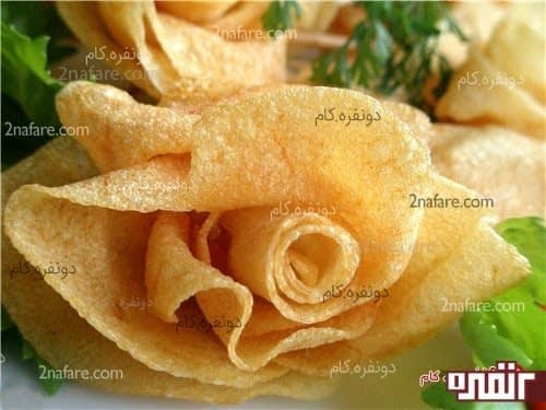 تزیین غذا با گل رز سیب زمینی