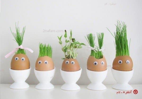 تزیین سبزه در تخم مرغ