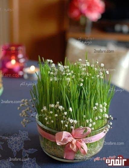تزیین سبزه عید با گل