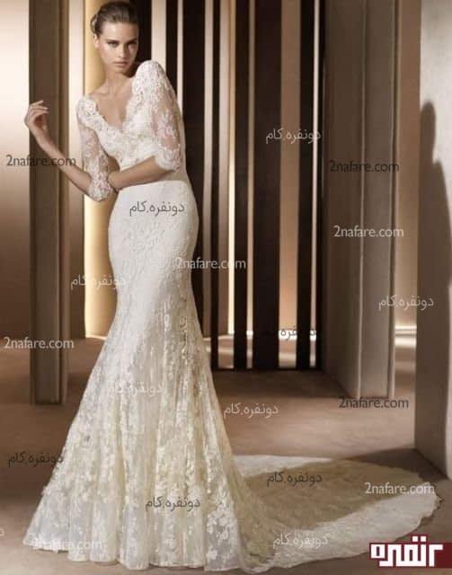 لباس عروس آستین بلند با تور دانتل
