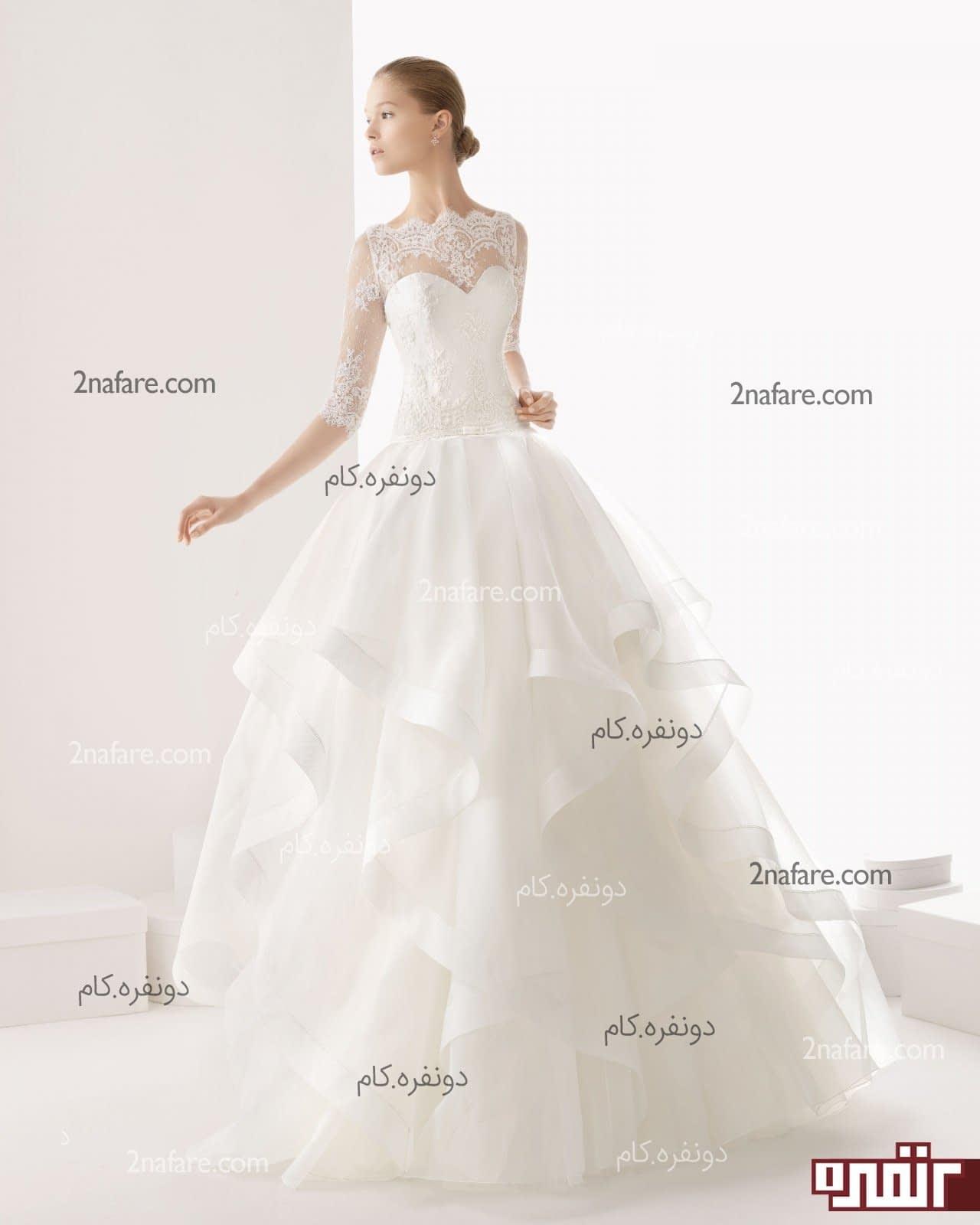 لباس عروس استین سه ربع لباس عروس آستین بلند با دامن پفی