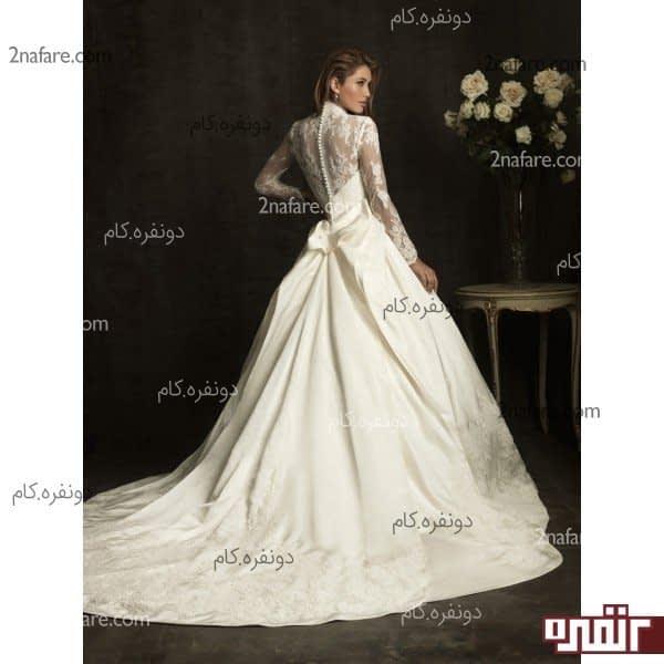 لباس عروس دنباله دار و آستین بلند
