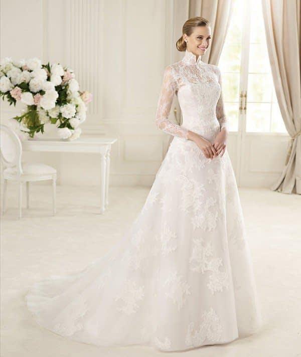 لباس عروس زیبای آستین بلند با تور دانتل