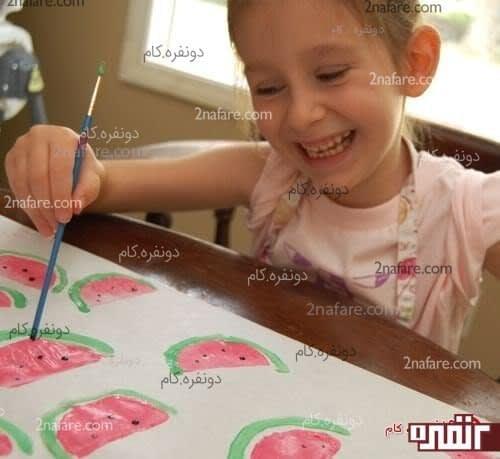 نقاشی دانه های هندوانه