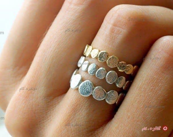 انگشتر لکه های طلای سفید  و زرد مات