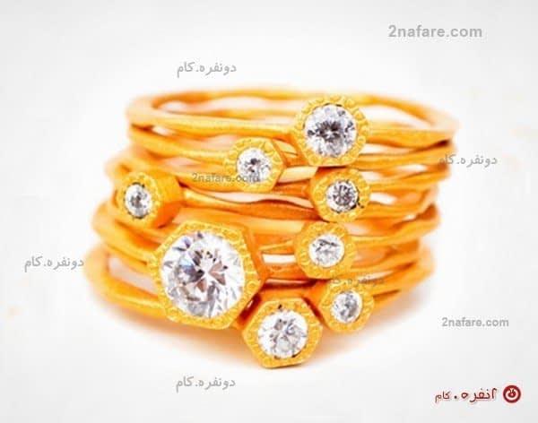 انگشتر کوه جواهر - طلای زرد مات