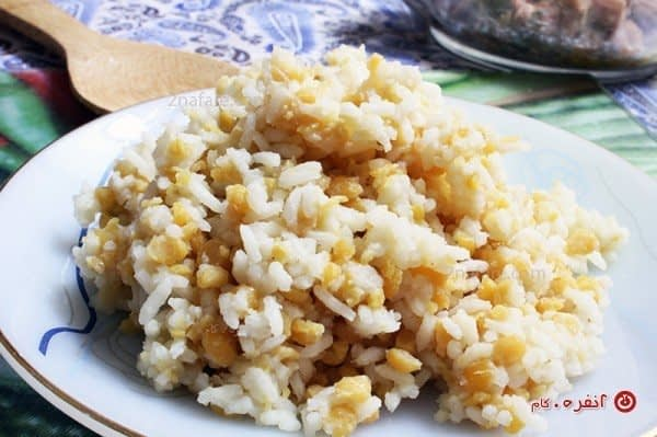 برنج و لپه نیم کوب شده
