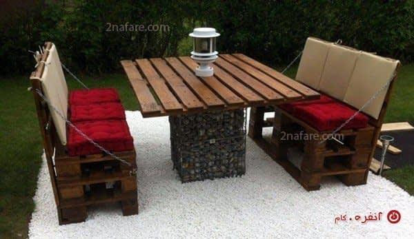 میز و نمیکت با پالت چوبی