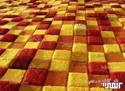 طرح چهارخانه زرد و قرمز