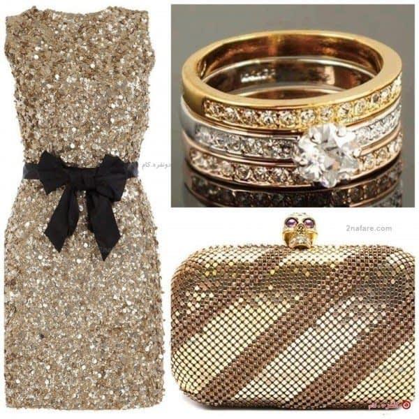 مدل جواهرنشان ترکیب مجلل و زیبا از رنگ طلایی