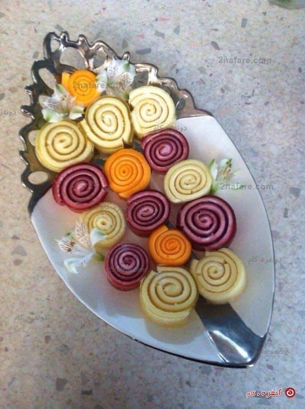 ژله رولتی با رنگ های مختلف