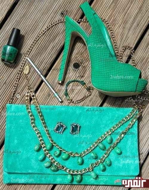 ست کفش و کیف و متعلقات سبز آبی