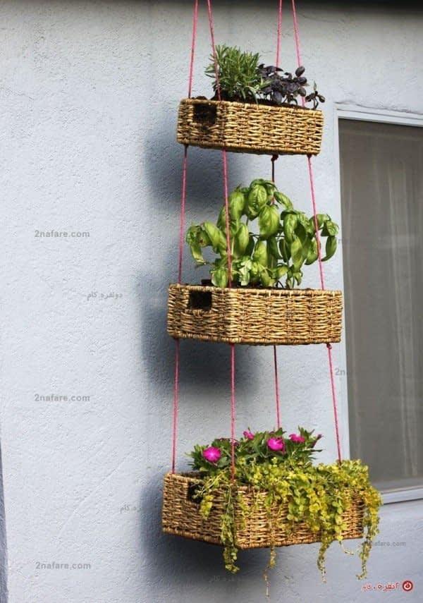 آویز سبد گل سه تایی برای بالکون، یا حیاط منزل